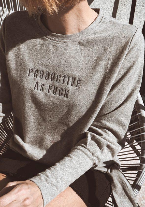 Productive as fuck / Oldalt csomózott pulóver